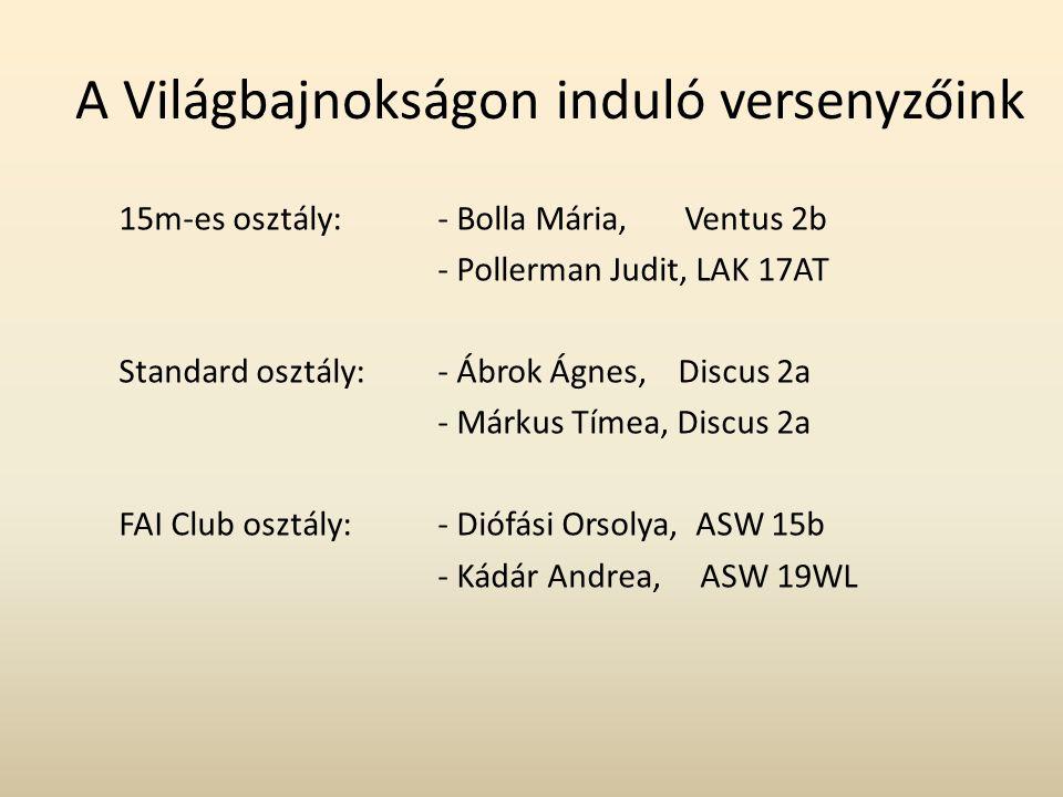 A Világbajnokságon induló versenyzőink 15m-es osztály: - Bolla Mária, Ventus 2b - Pollerman Judit, LAK 17AT Standard osztály: - Ábrok Ágnes, Discus 2a