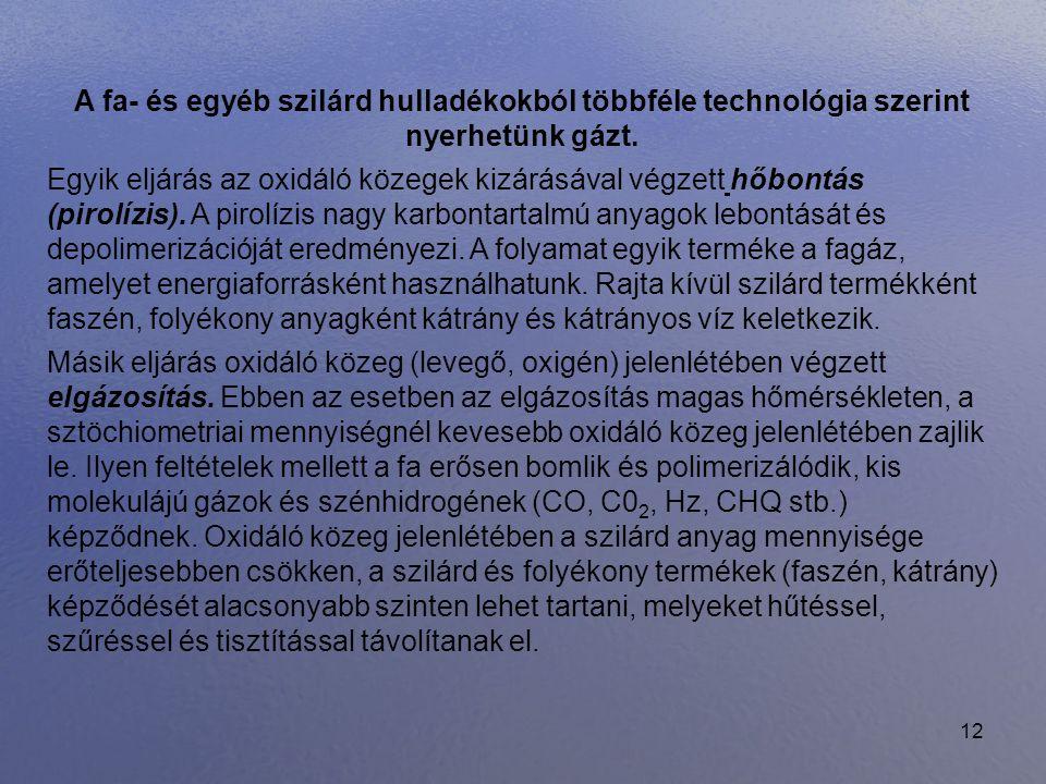 12 A fa- és egyéb szilárd hulladékokból többféle technológia szerint nyerhetünk gázt. Egyik eljárás az oxidáló közegek kizárásával végzett hőbontás (p