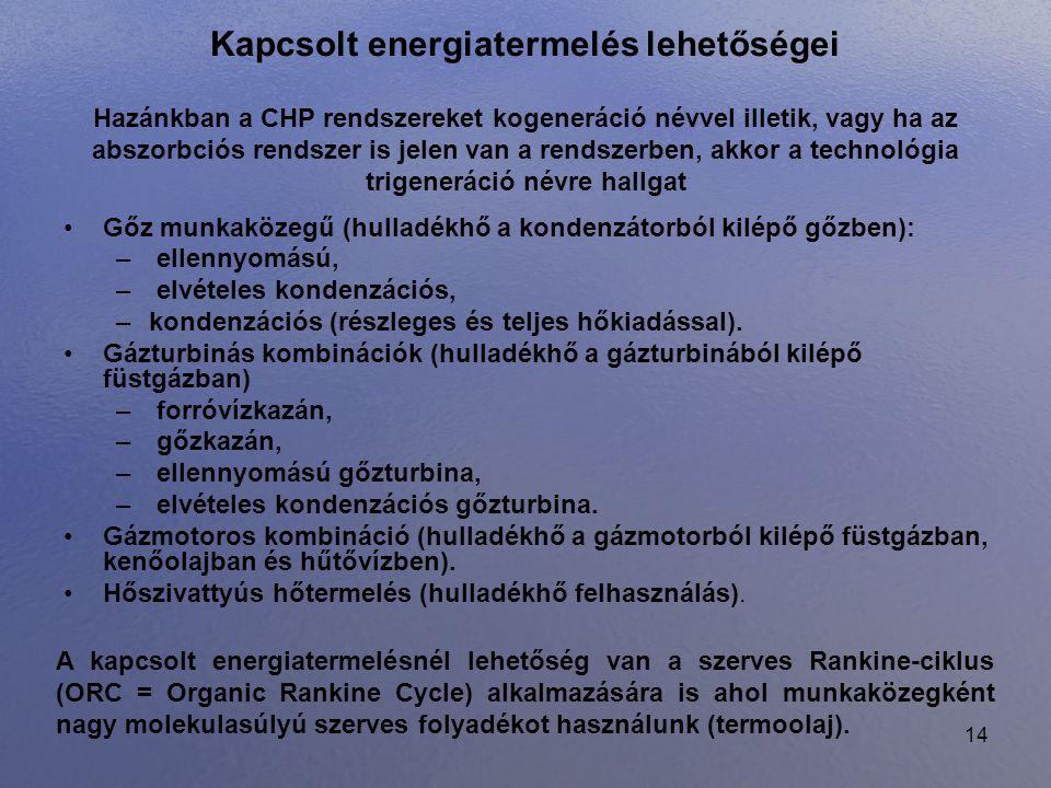 14 Kapcsolt energiatermelés lehetőségei •Gőz munkaközegű (hulladékhő a kondenzátorból kilépő gőzben): – ellennyomású, – elvételes kondenzációs, –konde