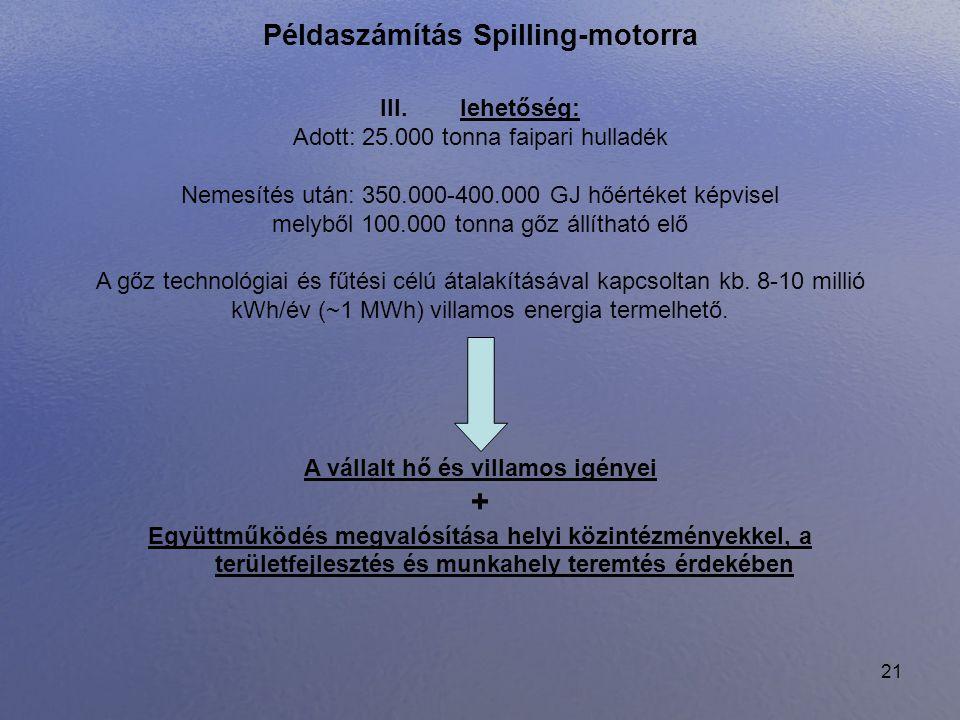 21 Példaszámítás Spilling-motorra III. lehetőség: Adott: 25.000 tonna faipari hulladék Nemesítés után: 350.000-400.000 GJ hőértéket képvisel melyből 1