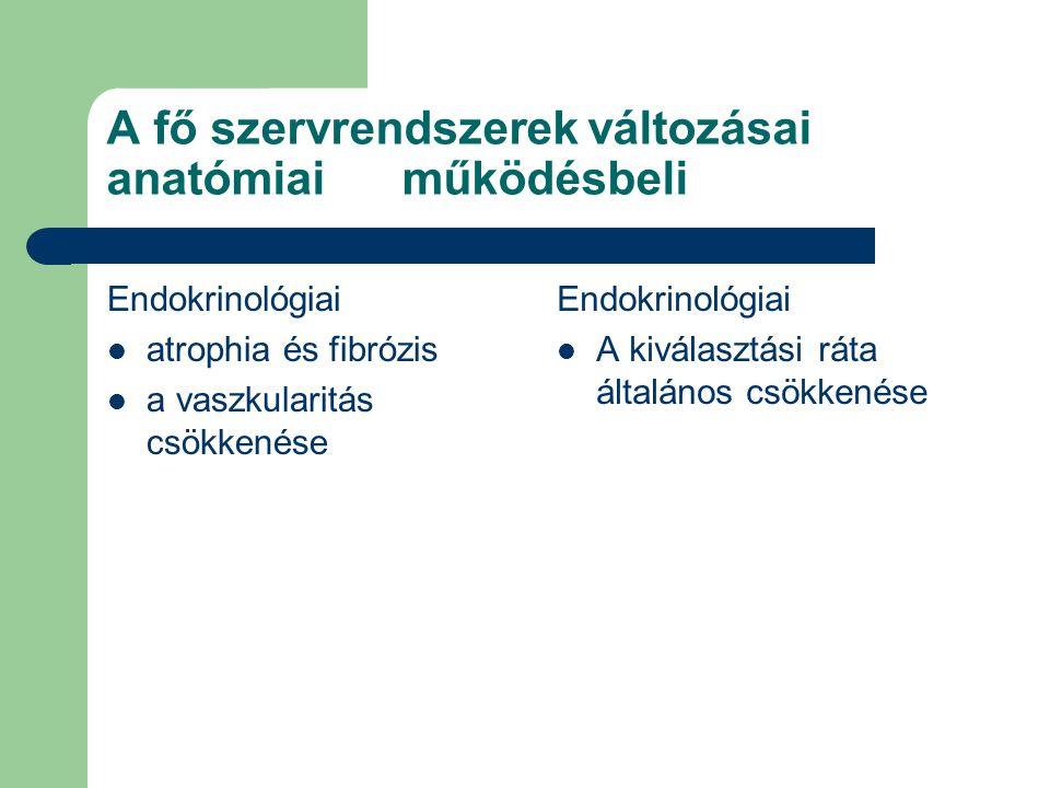 A fő szervrendszerek változásai anatómiai működésbeli Endokrinológiai  atrophia és fibrózis  a vaszkularitás csökkenése Endokrinológiai  A kiválasz