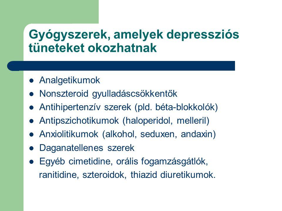 Gyógyszerek, amelyek depressziós tüneteket okozhatnak  Analgetikumok  Nonszteroid gyulladáscsökkentők  Antihipertenzív szerek (pld. béta-blokkolók)