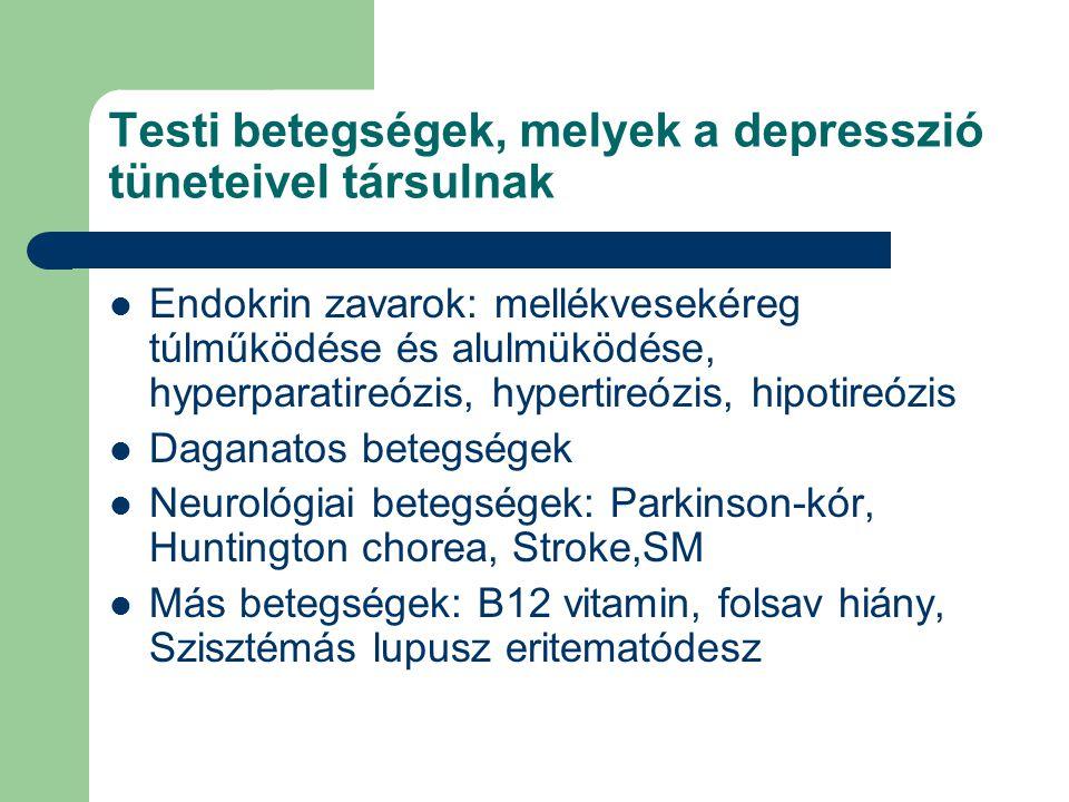 Testi betegségek, melyek a depresszió tüneteivel társulnak  Endokrin zavarok: mellékvesekéreg túlműködése és alulmüködése, hyperparatireózis, hypertireózis, hipotireózis  Daganatos betegségek  Neurológiai betegségek: Parkinson-kór, Huntington chorea, Stroke,SM  Más betegségek: B12 vitamin, folsav hiány, Szisztémás lupusz eritematódesz