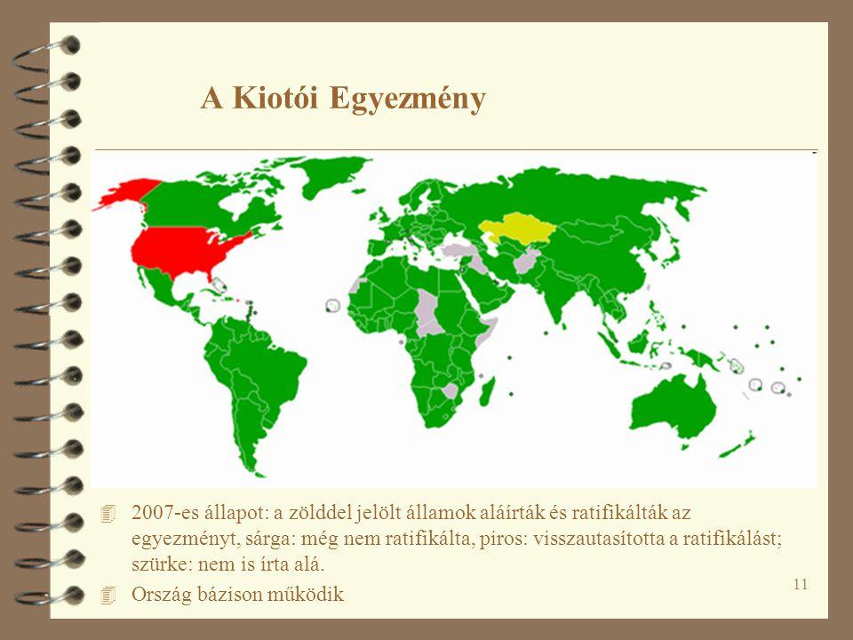 11 A Kiotói Egyezmény 4 2007-es állapot: a zölddel jelölt államok aláírták és ratifikálták az egyezményt, sárga: még nem ratifikálta, piros: visszauta