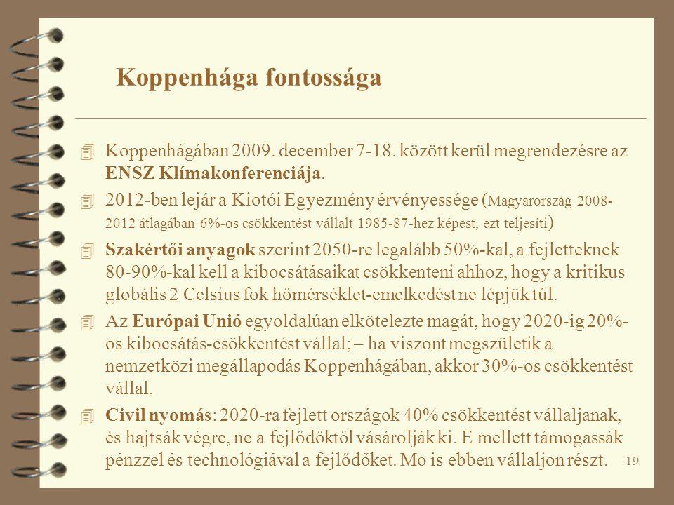 19 Koppenhága fontossága 4 Koppenhágában 2009. december 7-18. között kerül megrendezésre az ENSZ Klímakonferenciája. 4 2012-ben lejár a Kiotói Egyezmé