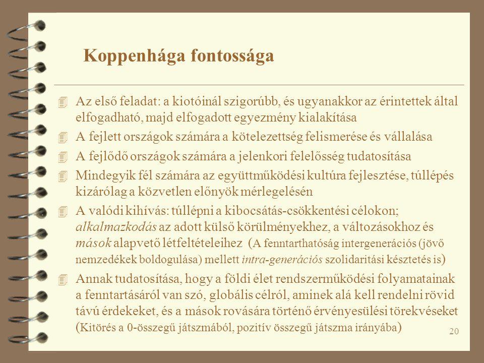 20 Koppenhága fontossága 4 Az első feladat: a kiotóinál szigorúbb, és ugyanakkor az érintettek által elfogadható, majd elfogadott egyezmény kialakítás