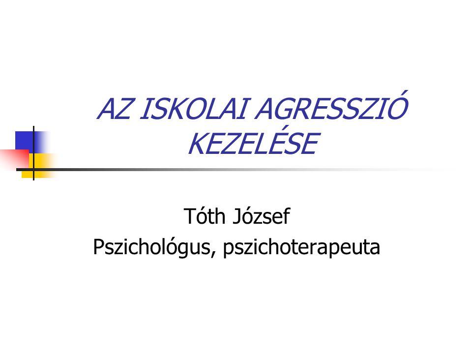 AZ ISKOLAI AGRESSZIÓ KEZELÉSE Tóth József Pszichológus, pszichoterapeuta