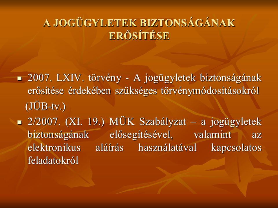 A JOGÜGYLETEK BIZTONSÁGÁNAK ERŐSÍTÉSE  2007. LXIV. törvény - A jogügyletek biztonságának erősítése érdekében szükséges törvénymódosításokról (JÜB-tv.