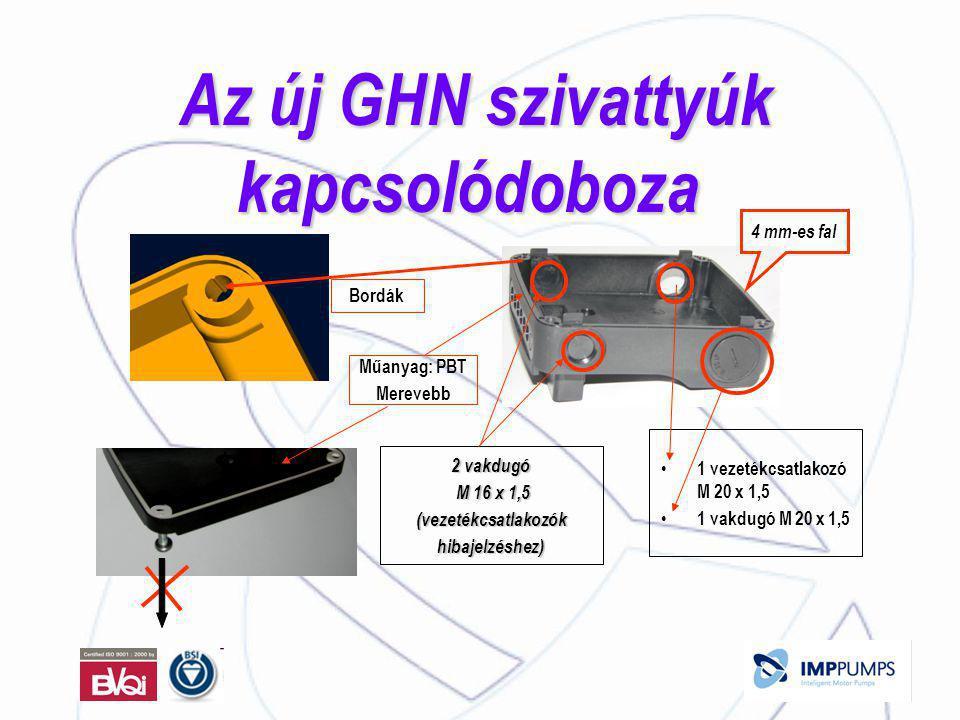 Az új GHN szivattyúk kapcsolódoboza Az új GHN szivattyúk kapcsolódoboza 2 vakdugó M 16 x 1,5 M 16 x 1,5 (vezetékcsatlakozók hibajelzéshez) • 1 vezetékcsatlakozó M 20 x 1,5 • 1 vakdugó M 20 x 1,5 4 mm-es fal Műanyag: PBT Merevebb Bordák