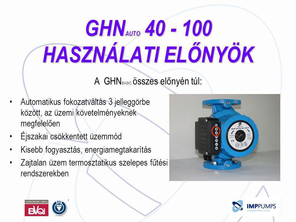 GHN AUTO 40 - 100 HASZNÁLATI ELŐNYÖK •Automatikus fokozatváltás 3 jelleggörbe között, az üzemi követelményeknek megfelelően •Éjszakai csökkentett üzemmód •Kisebb fogyasztás, energiamegtakarítás •Zajtalan üzem termosztatikus szelepes fűtési rendszerekben A GHN BASIC összes előnyén túl: