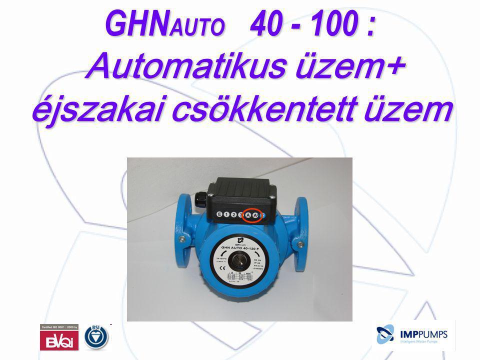GHN AUTO 40 - 100 : Automatikus üzem+ éjszakai csökkentett üzem