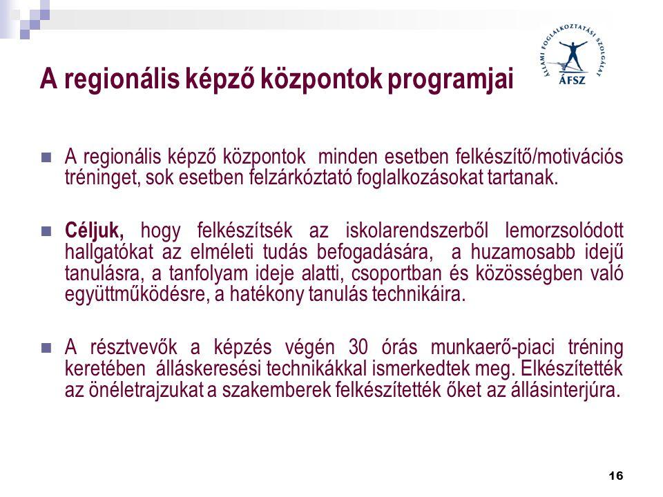 16 A regionális képző központok programjai  A regionális képző központok minden esetben felkészítő/motivációs tréninget, sok esetben felzárkóztató fo
