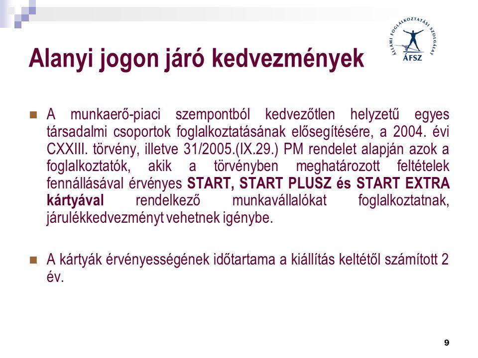 9 Alanyi jogon járó kedvezmények  A munkaerő-piaci szempontból kedvezőtlen helyzetű egyes társadalmi csoportok foglalkoztatásának elősegítésére, a 20