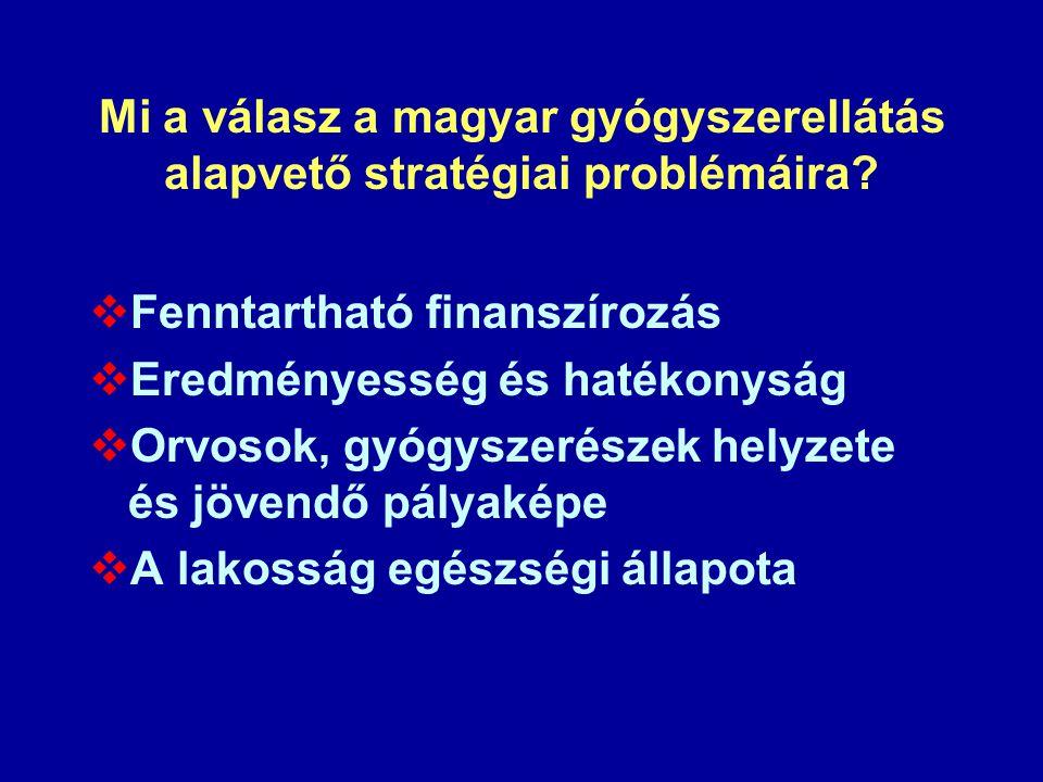 Mi a válasz a magyar gyógyszerellátás alapvető stratégiai problémáira?  Fenntartható finanszírozás  Eredményesség és hatékonyság  Orvosok, gyógysze