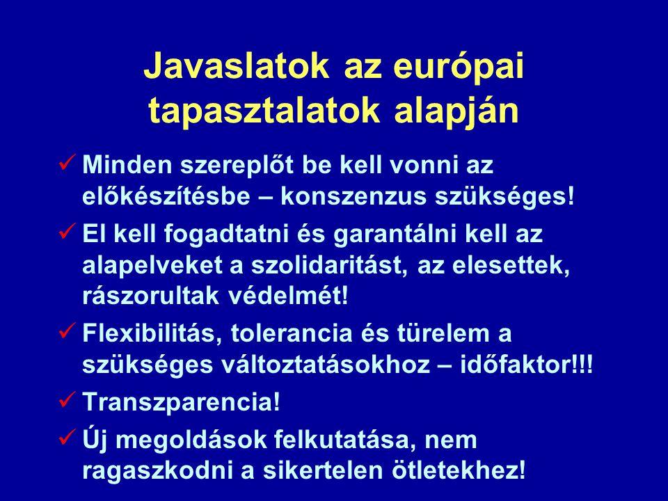 Javaslatok az európai tapasztalatok alapján  Minden szereplőt be kell vonni az előkészítésbe – konszenzus szükséges!  El kell fogadtatni és garantál