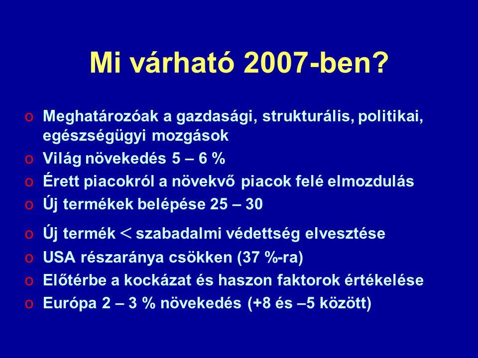Mi várható 2007-ben? oMeghatározóak a gazdasági, strukturális, politikai, egészségügyi mozgások oVilág növekedés 5 – 6 % oÉrett piacokról a növekvő pi