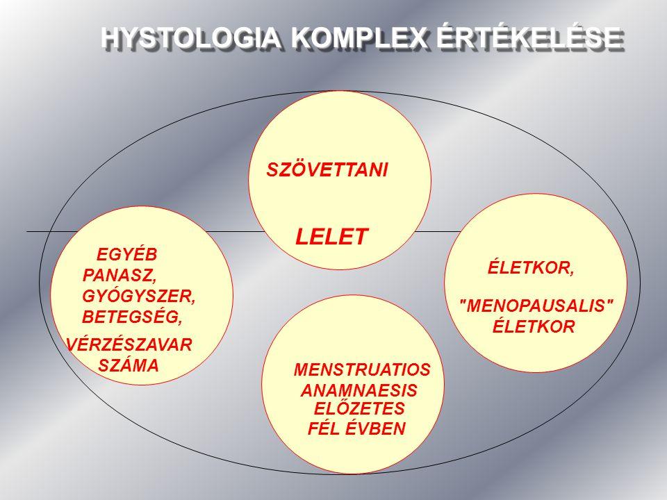 HYSTOLOGIA KOMPLEX ÉRTÉKELÉSE SZÖVETTANI LELET EGYÉB PANASZ, GYÓGYSZER, BETEGSÉG, ÉLETKOR,
