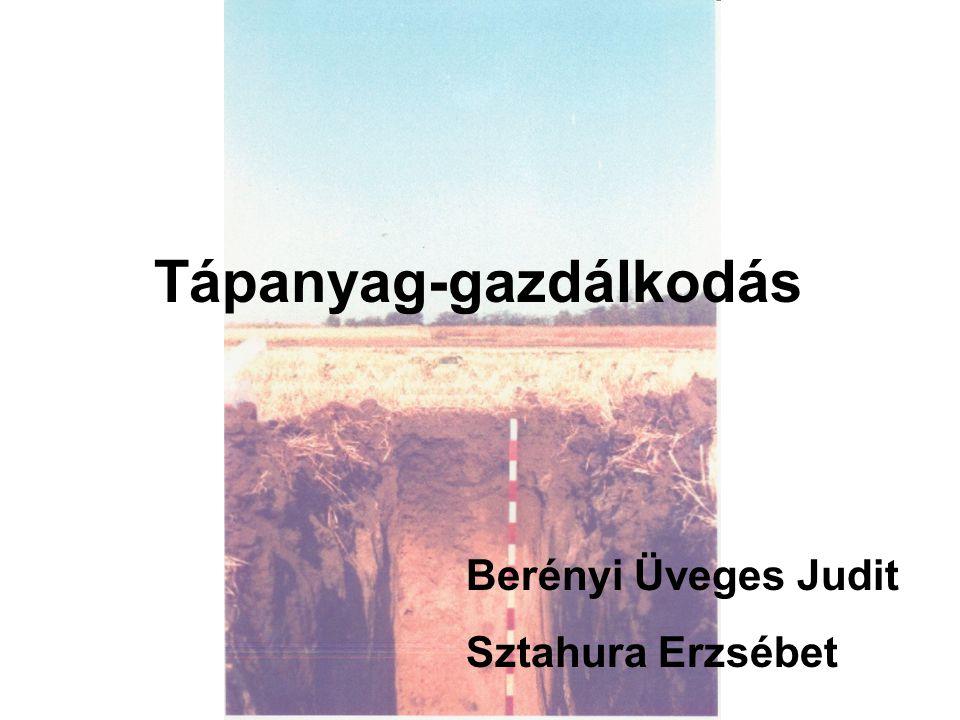Tápanyag-gazdálkodás Berényi Üveges Judit Sztahura Erzsébet
