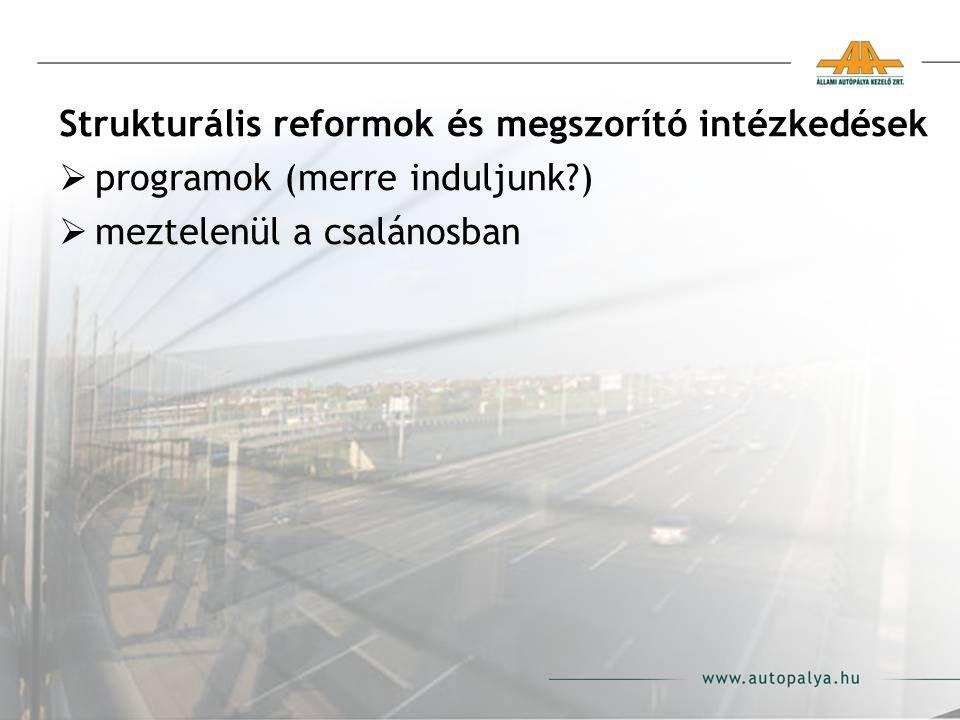 Strukturális reformok és megszorító intézkedések  programok (merre induljunk?)  meztelenül a csalánosban