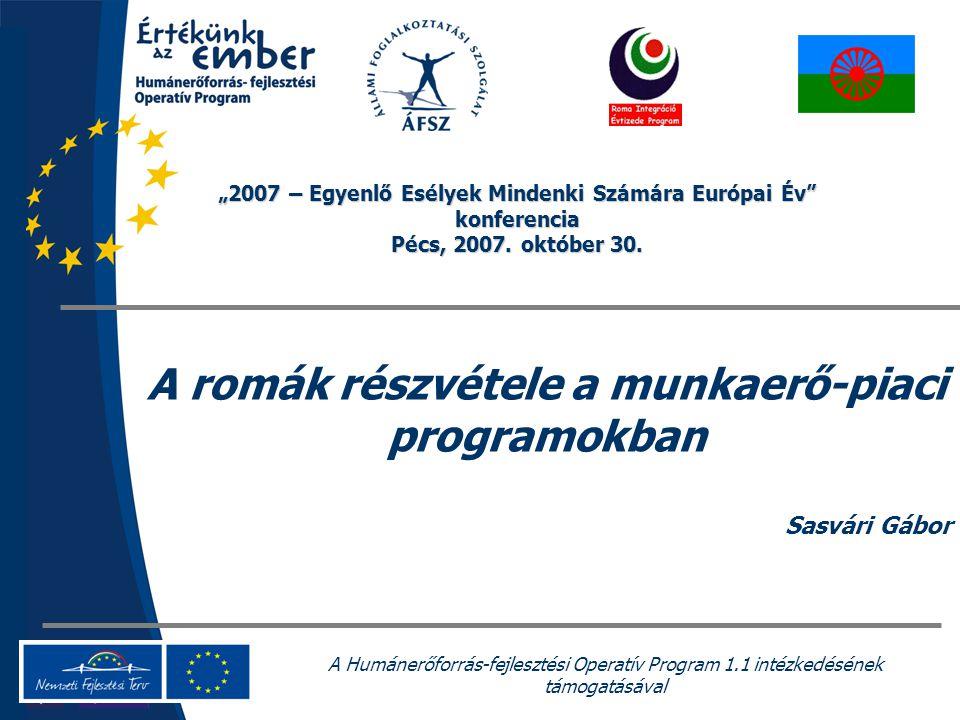 """A Humánerőforrás-fejlesztési Operatív Program 1.1 intézkedésének támogatásával A romák részvétele a munkaerő-piaci programokban Sasvári Gábor """"2007 – Egyenlő Esélyek Mindenki Számára Európai Év konferencia Pécs, 2007."""