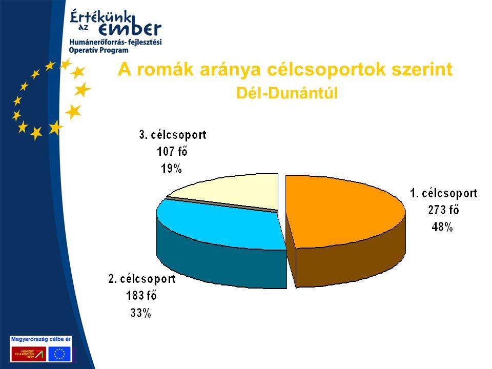 A romák aránya célcsoportok szerint Dél-Dunántúl