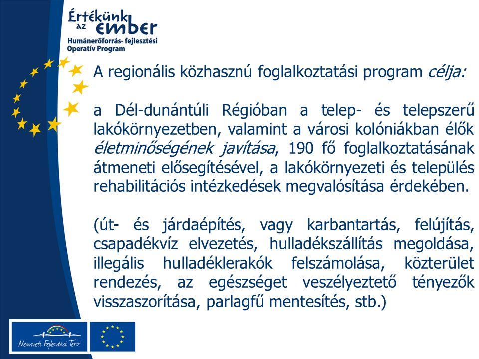A regionális közhasznú foglalkoztatási program célja: a Dél-dunántúli Régióban a telep- és telepszerű lakókörnyezetben, valamint a városi kolóniákban élők életminőségének javítása, 190 fő foglalkoztatásának átmeneti elősegítésével, a lakókörnyezeti és település rehabilitációs intézkedések megvalósítása érdekében.