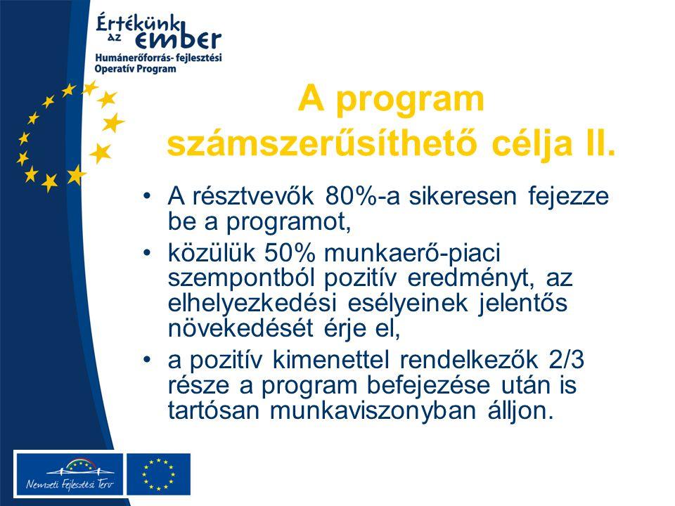A program számszerűsíthető célja II.