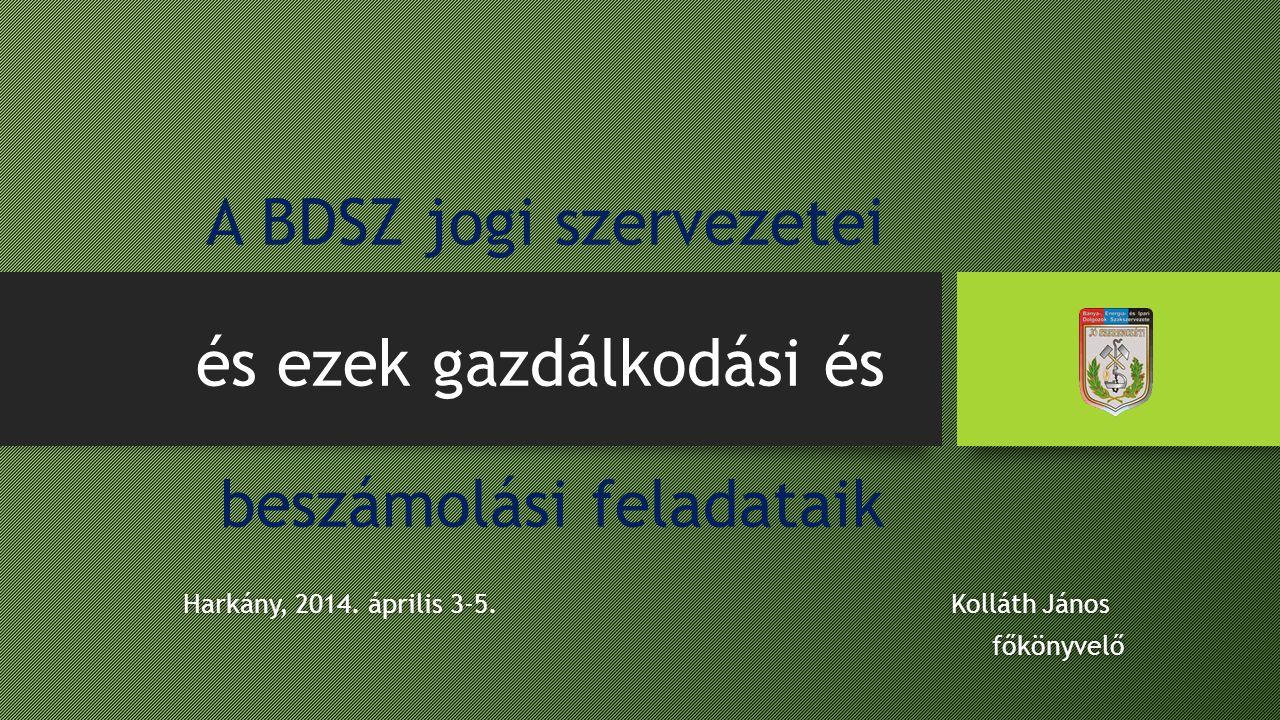 A BDSZ jogi szervezetei és ezek gazdálkodási és beszámolási feladataik Harkány, 2014. április 3-5. Kolláth JánosHarkány, 2014. április 3-5. Kolláth Já