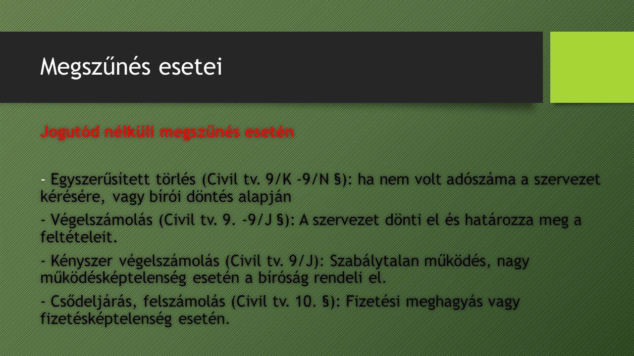 Megszűnés esetei Jogutód nélküli megszűnés eseténJogutód nélküli megszűnés esetén - Egyszerűsített törlés (Civil tv. 9/K -9/N §): ha nem volt adószáma