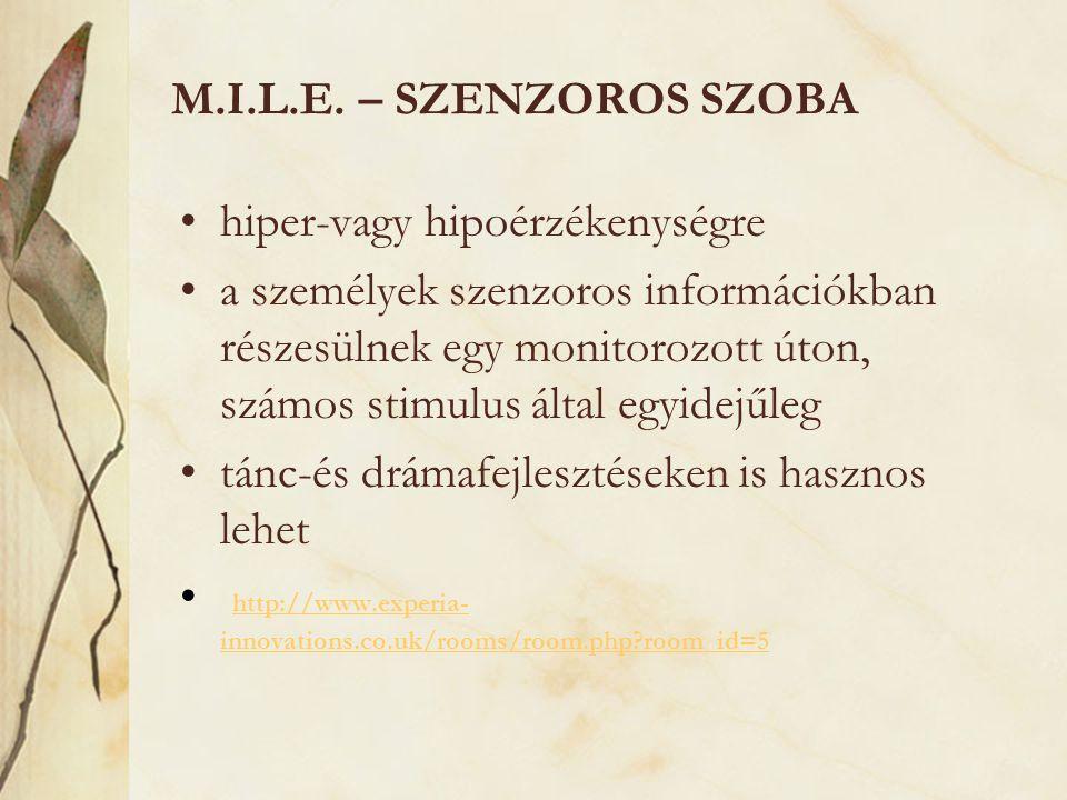 M.I.L.E. – SZENZOROS SZOBA •hiper-vagy hipoérzékenységre •a személyek szenzoros információkban részesülnek egy monitorozott úton, számos stimulus álta