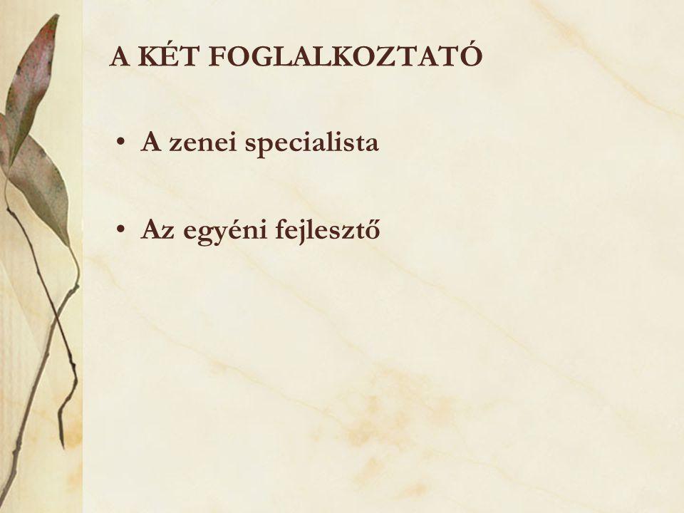 A KÉT FOGLALKOZTATÓ •A zenei specialista •Az egyéni fejlesztő