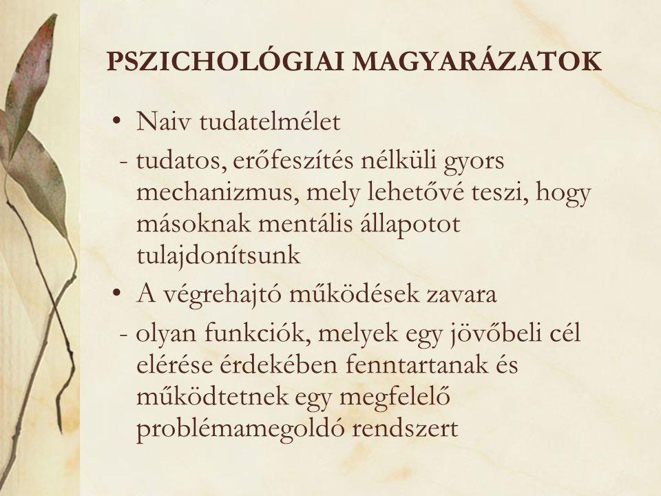 PSZICHOLÓGIAI MAGYARÁZATOK •Naiv tudatelmélet - tudatos, erőfeszítés nélküli gyors mechanizmus, mely lehetővé teszi, hogy másoknak mentális állapotot