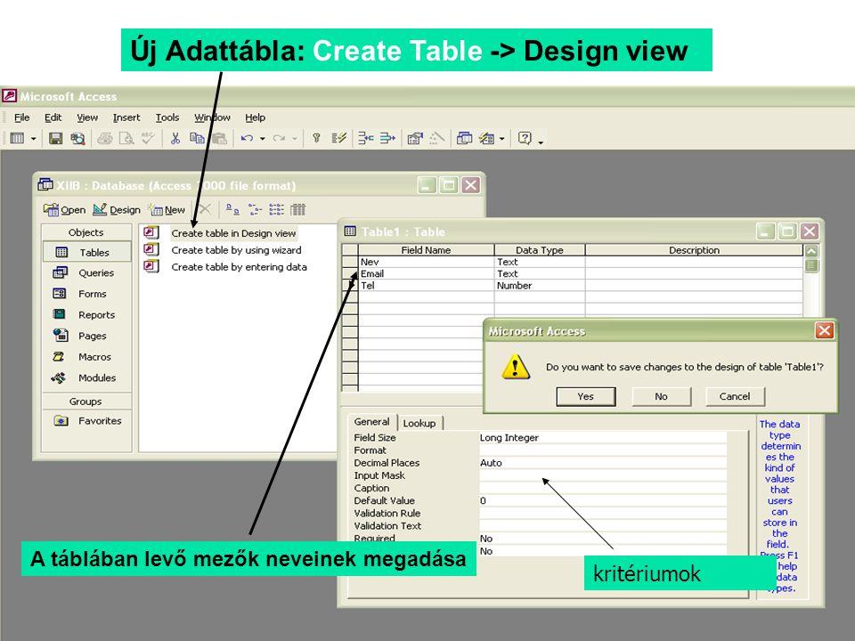 Új Adattábla: Create Table -> Design view A táblában levő mezők neveinek megadása kritériumok