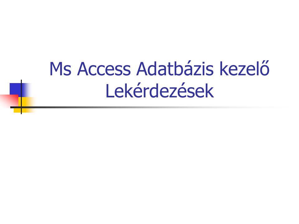 Ms Access Adatbázis kezelő Lekérdezések