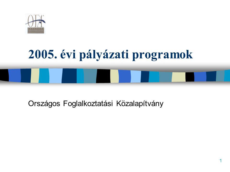 1 2005. évi pályázati programok Országos Foglalkoztatási Közalapítvány