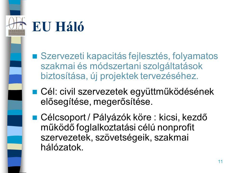 11 EU Háló  Szervezeti kapacitás fejlesztés, folyamatos szakmai és módszertani szolgáltatások biztosítása, új projektek tervezéséhez.  Cél: civil sz
