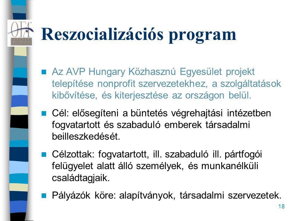 18 Reszocializációs program  Az AVP Hungary Közhasznú Egyesület projekt telepítése nonprofit szervezetekhez, a szolgáltatások kibővítése, és kiterjesztése az országon belül.
