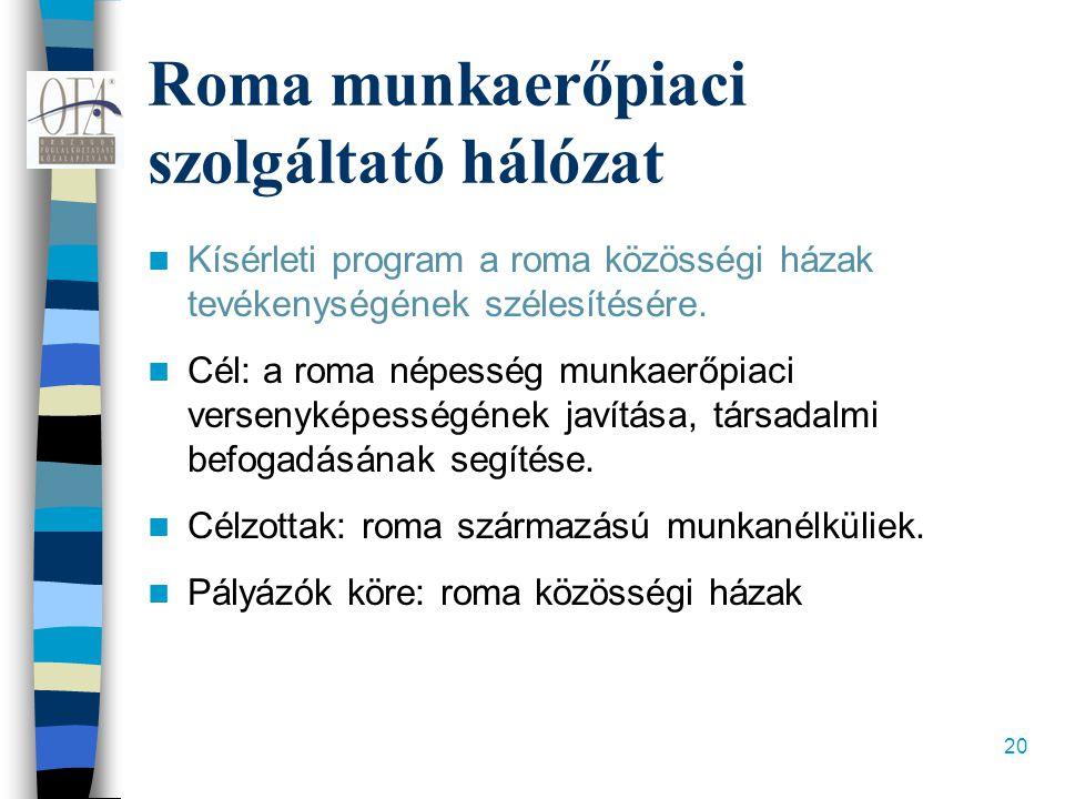 20 Roma munkaerőpiaci szolgáltató hálózat  Kísérleti program a roma közösségi házak tevékenységének szélesítésére.  Cél: a roma népesség munkaerőpia