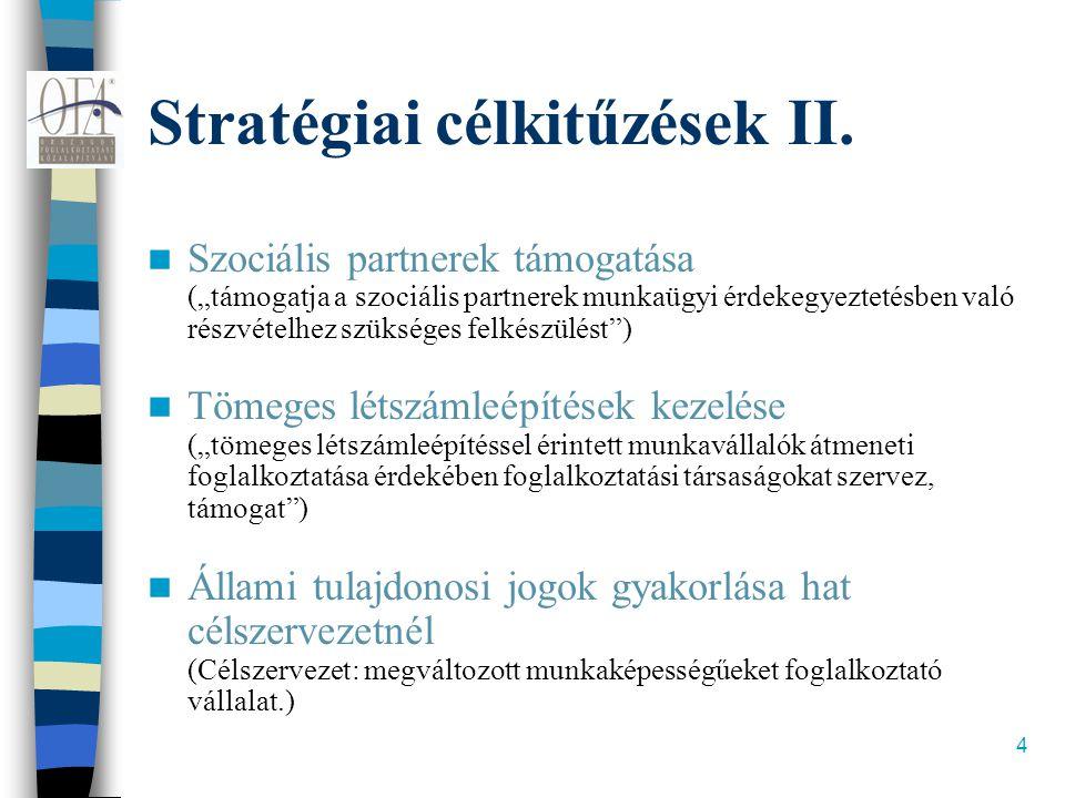 """4 Stratégiai célkitűzések II.  Szociális partnerek támogatása (""""támogatja a szociális partnerek munkaügyi érdekegyeztetésben való részvételhez szüksé"""
