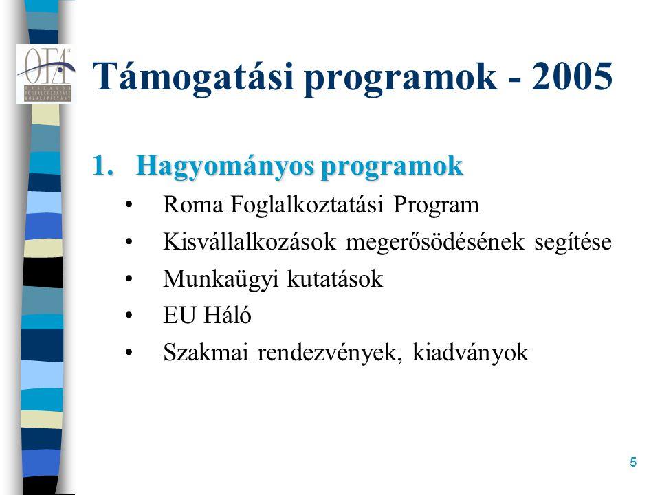 5 Támogatási programok - 2005 1.Hagyományos programok •Roma Foglalkoztatási Program •Kisvállalkozások megerősödésének segítése •Munkaügyi kutatások •E