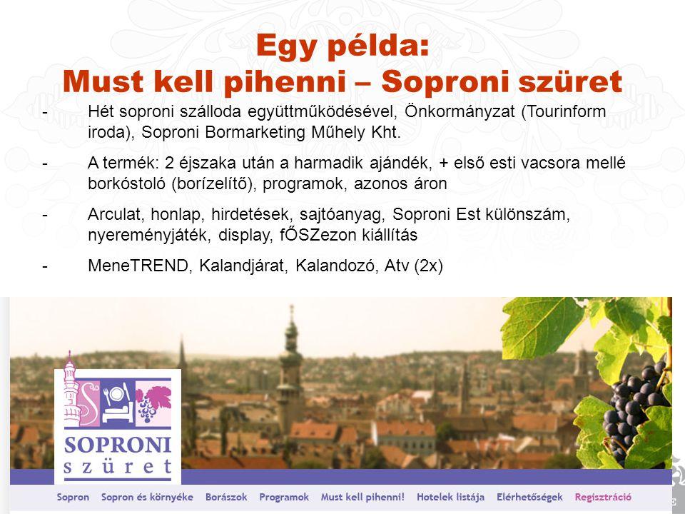 Egy példa: Must kell pihenni – Soproni szüret -Hét soproni szálloda együttműködésével, Önkormányzat (Tourinform iroda), Soproni Bormarketing Műhely Kht.