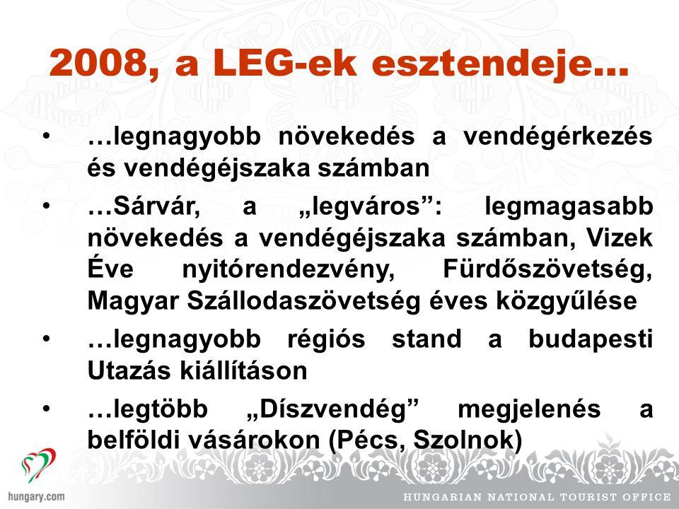 """2008, a LEG-ek esztendeje… •…legnagyobb növekedés a vendégérkezés és vendégéjszaka számban •…Sárvár, a """"legváros : legmagasabb növekedés a vendégéjszaka számban, Vizek Éve nyitórendezvény, Fürdőszövetség, Magyar Szállodaszövetség éves közgyűlése •…legnagyobb régiós stand a budapesti Utazás kiállításon •…legtöbb """"Díszvendég megjelenés a belföldi vásárokon (Pécs, Szolnok)"""