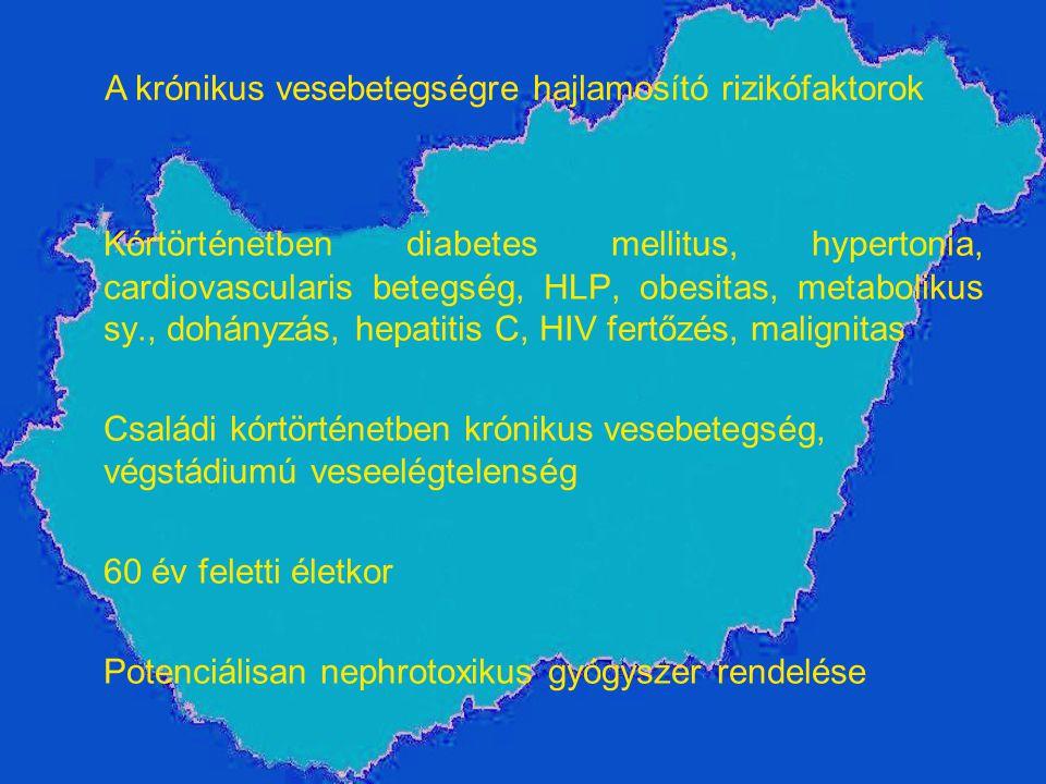 Kórtörténetben diabetes mellitus, hypertonia, cardiovascularis betegség, HLP, obesitas, metabolikus sy., dohányzás, hepatitis C, HIV fertőzés, maligni