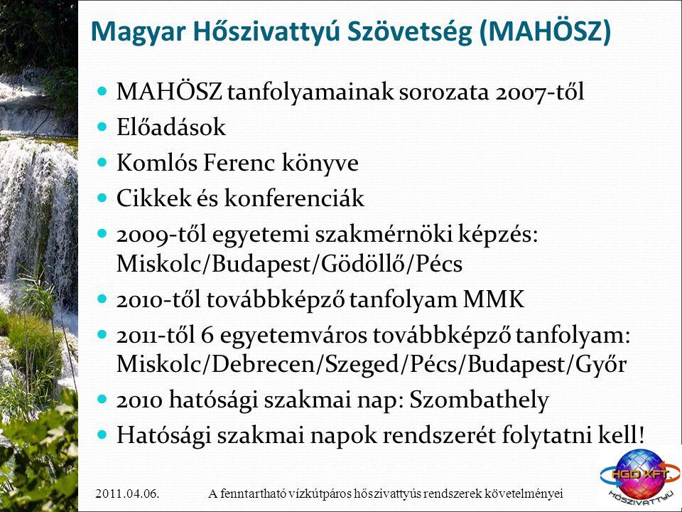 A fenntartható vízkútpáros hőszivattyús rendszerek követelményei2011.04.06. Magyar Hőszivattyú Szövetség (MAHÖSZ)  MAHÖSZ tanfolyamainak sorozata 200