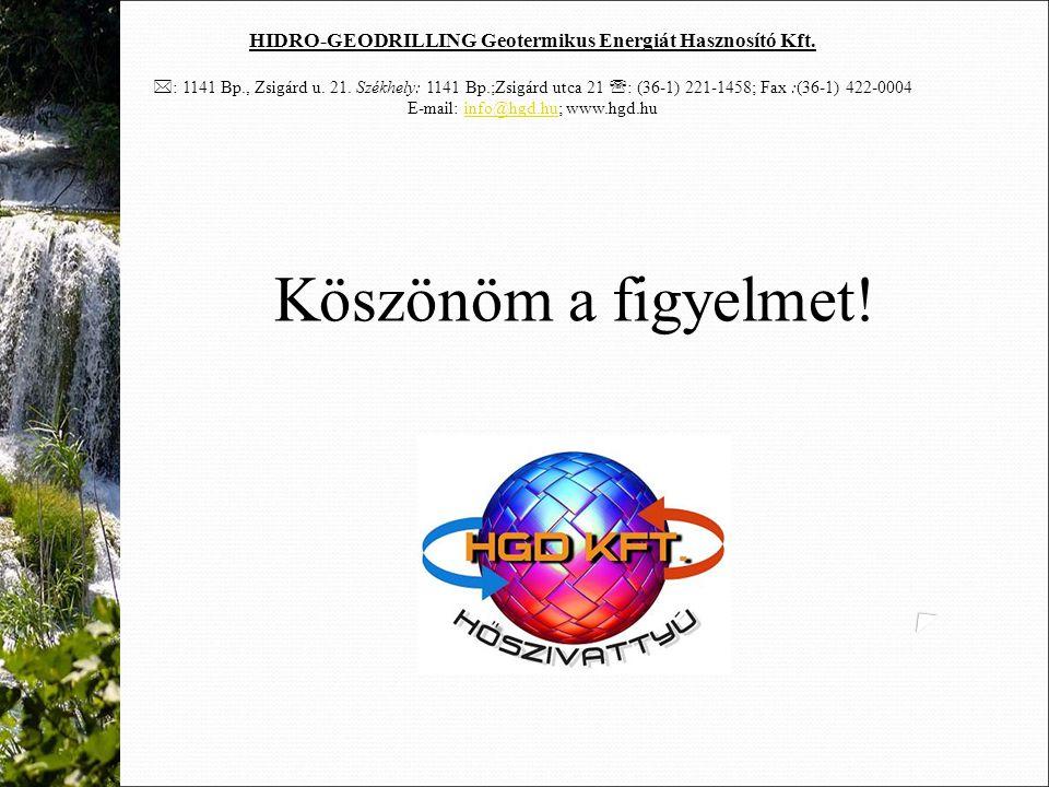 HIDRO-GEODRILLING Geotermikus Energiát Hasznosító Kft.  : 1141 Bp., Zsigárd u. 21. Székhely: 1141 Bp.;Zsigárd utca 21  : (36-1) 221-1458; Fax :(36-1