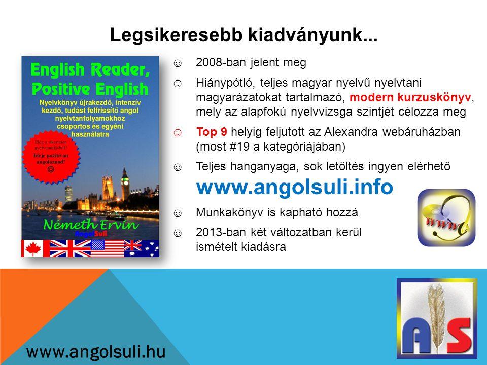 Hamarosan kapható, előrendelhető www.angolsuli.hu ☺Egyszerűsített nyelvtani anyag és tartalom kezdő felnőttek számára ☺Gyakorlatias, modern kurzuskönyv, melyet csoportosan és önállóan is lehet használni ☺Kedvező ár ☺Teljes hanganyaga ingyen elérhető www.angolsuli.info ☺Teljeskörű terméktámogatás ☺TÁMOP tanfolyamokhoz ideális