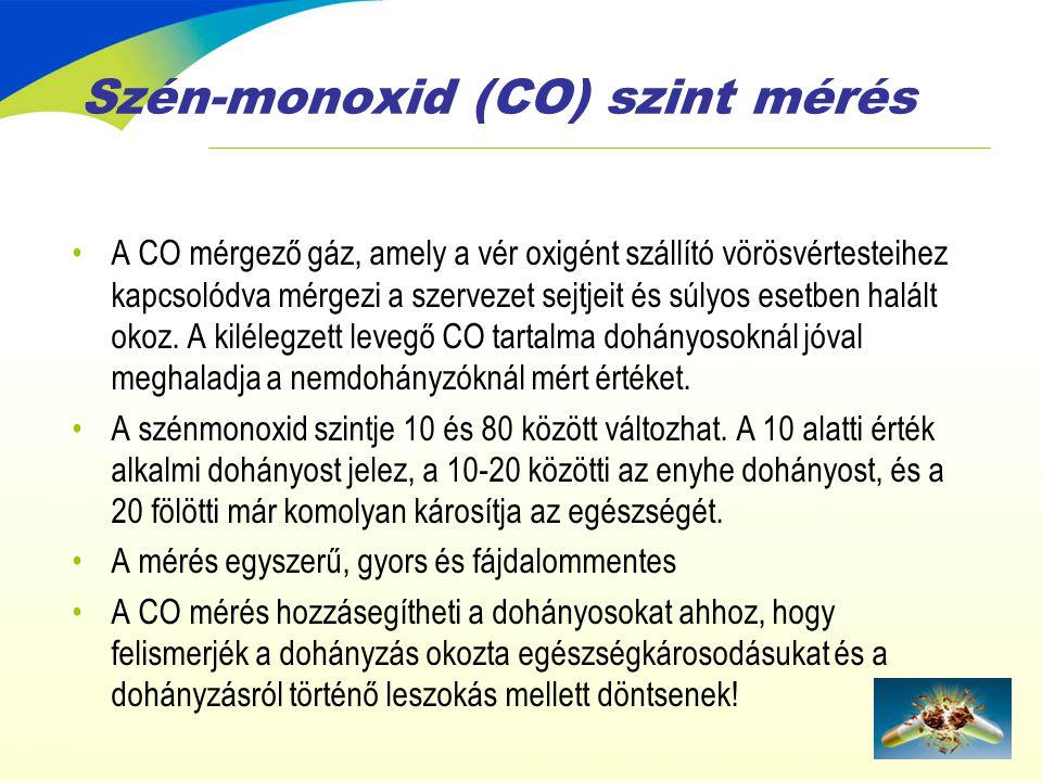 Szén-monoxid (CO) szint mérés •A CO mérgező gáz, amely a vér oxigént szállító vörösvértesteihez kapcsolódva mérgezi a szervezet sejtjeit és súlyos ese