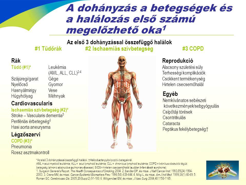 Összefoglalás •A dohányzás a megelőzhető betegségek és halálozás első számú oka •A dohányzás abbahagyása javítja az egészségi állapotot, és akár meg is fordíthatja egyes betegségek progresszióját •A passzív dohányzás akár halálos betegséget is okozhat — a gyerekek esetében speciális kockázat áll fenn •A cigarettában lévő nikotin erősen addiktív; a dohányzás testi és pszichológiai jutalma erősíti a dohányos viselkedést •A dohányfüggőség nem egy választott életstílus •A nikotinfüggőség egy krónikus, visszaesésekkel járó és hullámzó orvosi állapot, amely kezelhető •A segítség nélküli leszokási kísérletek csak ritkán sikeresek •A vényköteles gyógyszer a dohányzásról történő leszokás egyedülálló megközelítését kínálja