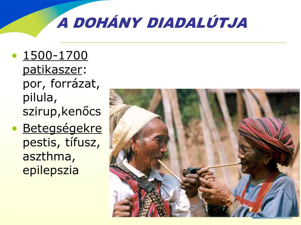 A DOHÁNY DIADALÚTJA •1500-1700 patikaszer: por, forrázat, pilula, szirup,kenőcs •Betegségekre pestis, tífusz, aszthma, epilepszia
