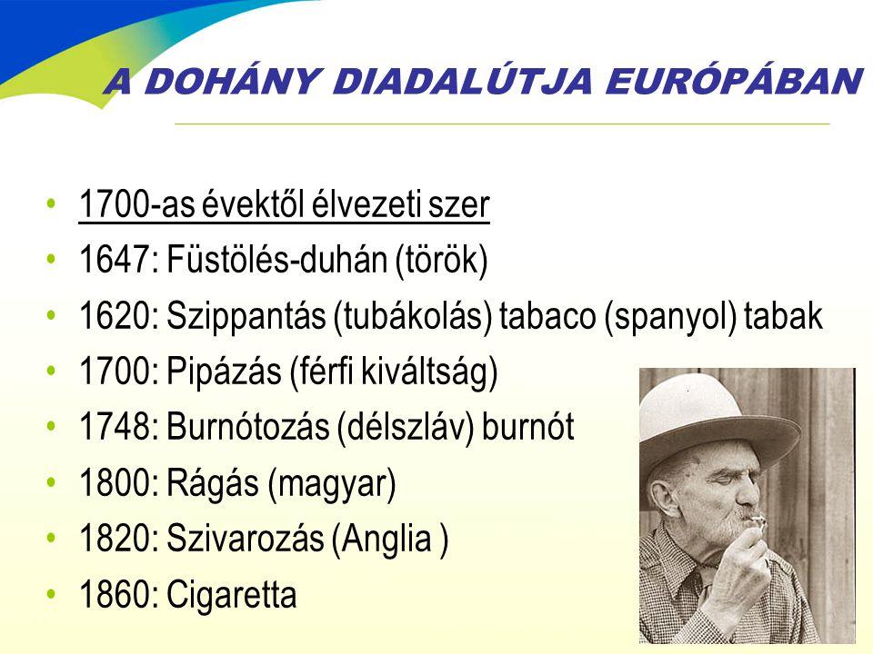 A DOHÁNY DIADALÚTJA EURÓPÁBAN •1700-as évektől élvezeti szer •1647: Füstölés-duhán (török) •1620: Szippantás (tubákolás) tabaco (spanyol) tabak •1700:
